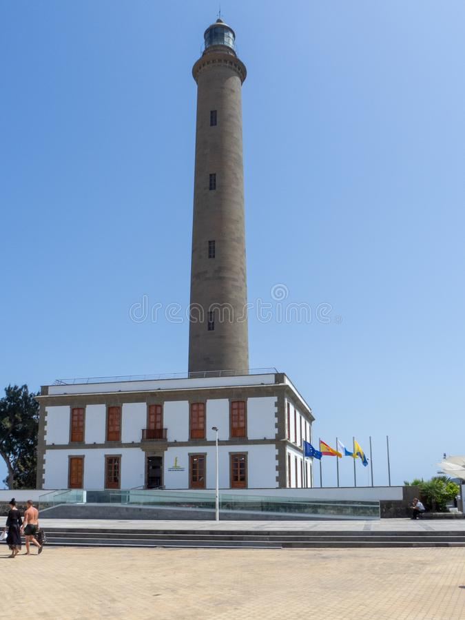Maspalomas Lighthouse, Gran Canaria. Gran Canaria/Spain - August 8 2019: The Maspalomas Lighthouse is an active 19th century lighthouse at the southern end of stock image