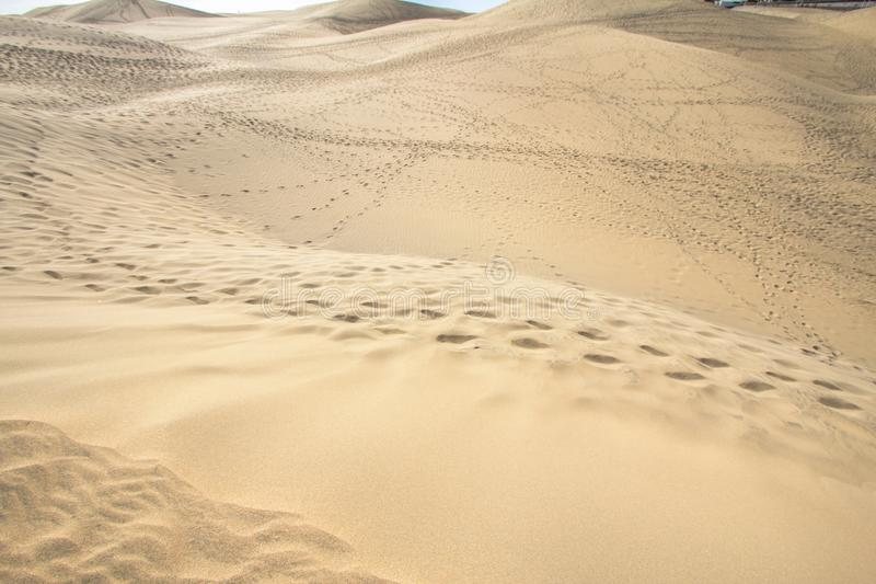 Maspalomas Sand Dune Desert, Grand Canaria royalty free stock photography
