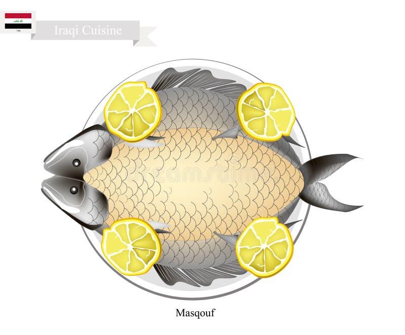 Masqouf lub Tradycyjna Irakijska opieczenie karpia ryba royalty ilustracja