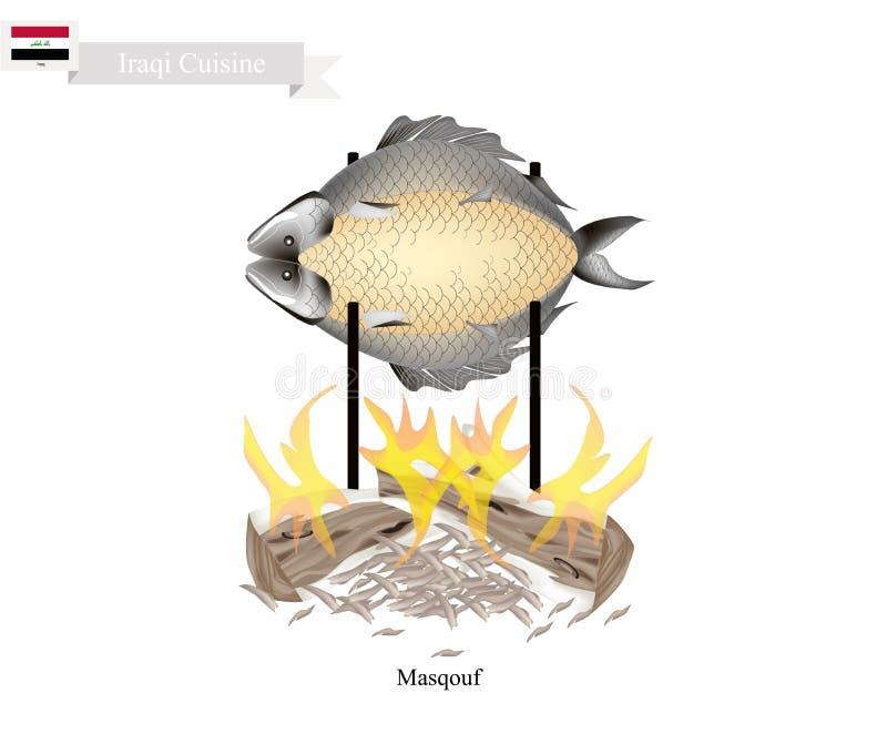 Masqouf lub Wyśmienicie Irakijska opieczenie karpia ryba ilustracja wektor