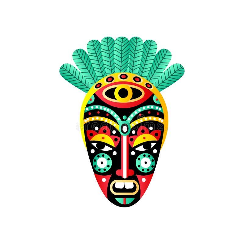 Masque africain ornemental mignon, élément rouge, plume verte illustration stock
