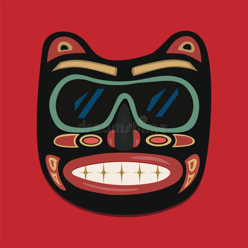 Masque africain sur un fond rouge Dessins de vecteur illustration libre de droits