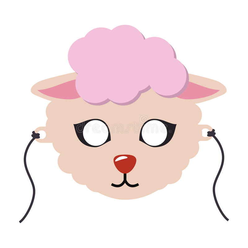 Masque animal de carnaval de moutons Vecteur floconneux mignon d'agneau illustration stock