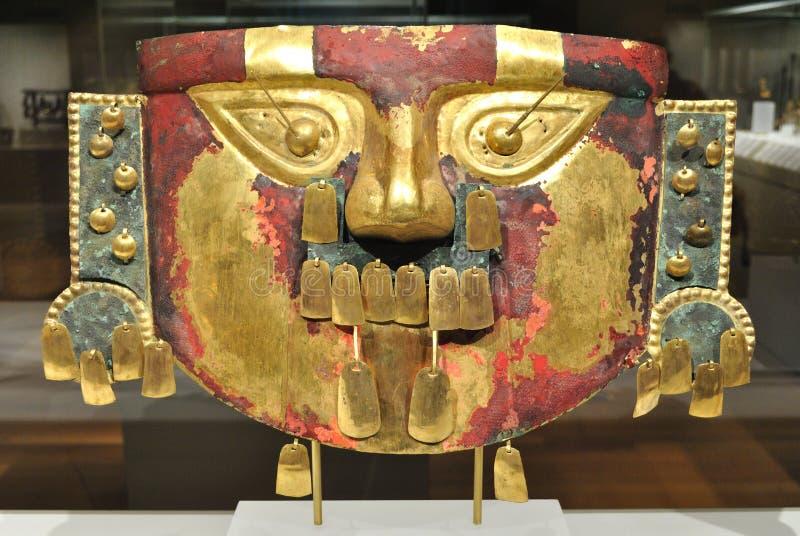 Masque antique d'Inca d'or photographie stock libre de droits