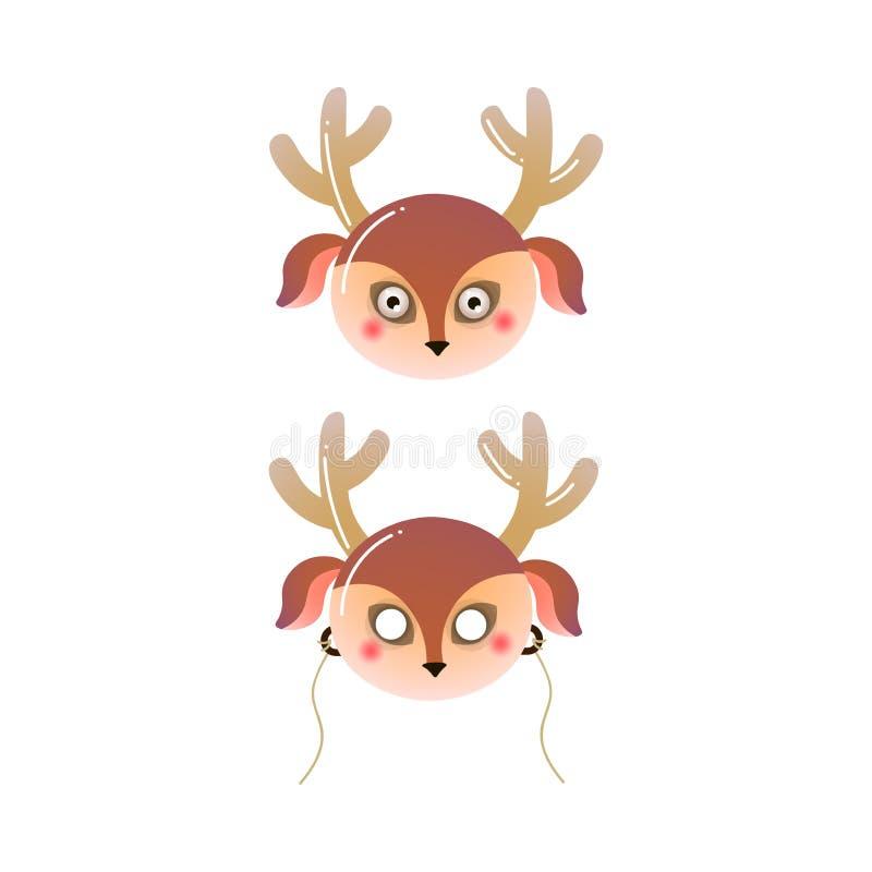 Masque brun mignon d'enfant de cerfs communs de forêt de couleur illustration stock