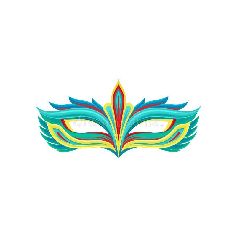 Masque coloré multi de festival dans le style plat Attribut de costume de mascarade Élément décoratif pour la partie de Mardi Gra illustration libre de droits