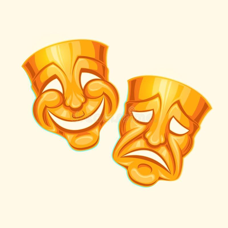 Masque comique et tragique d'or de théâtre illustration libre de droits