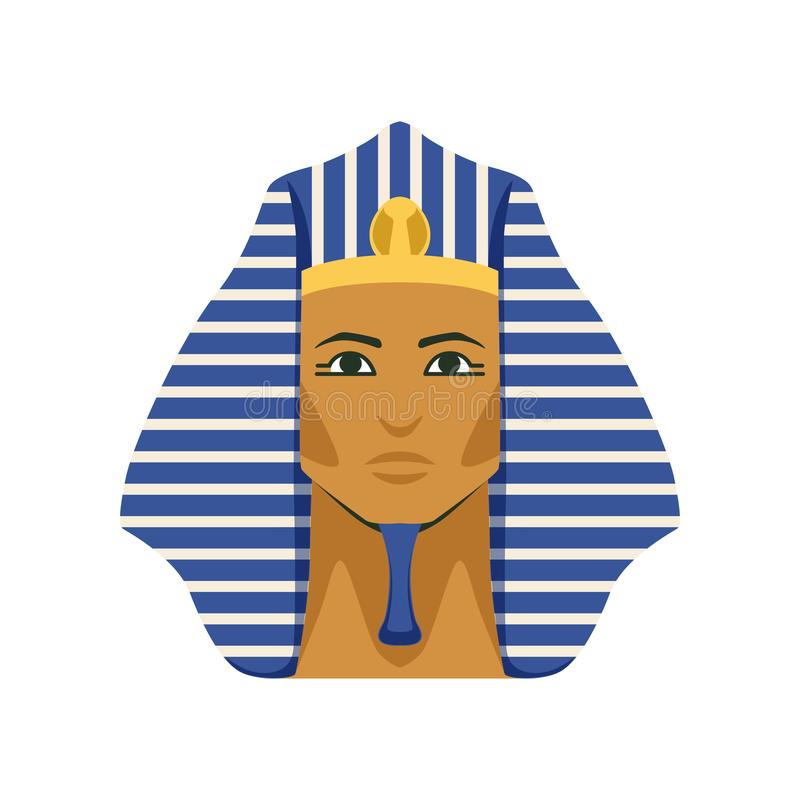 Masque d'or égyptien de pharaon de Tutankhamen, symbole d'illustration de vecteur d'Egypte antique illustration stock