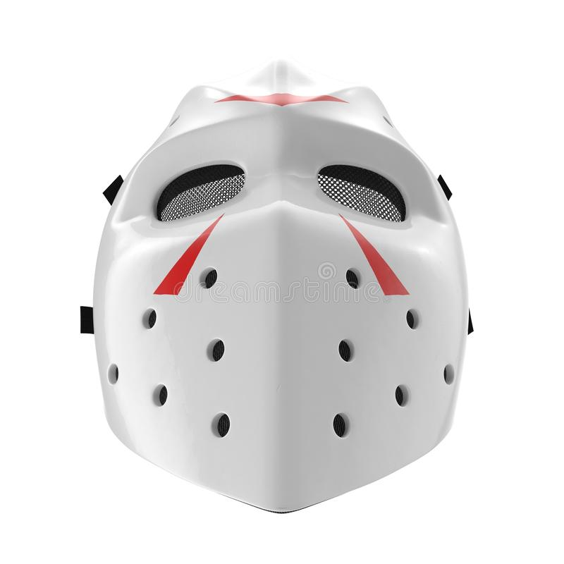 Masque d'hockey de vintage sur le blanc Front View illustration 3D illustration stock