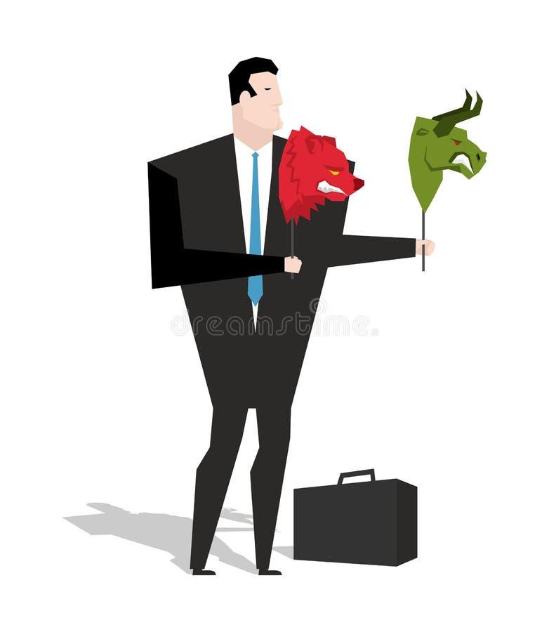Masque d'ours et de taureau dans des mains de commerçant d'homme d'affaires Joueur sur le sto illustration libre de droits