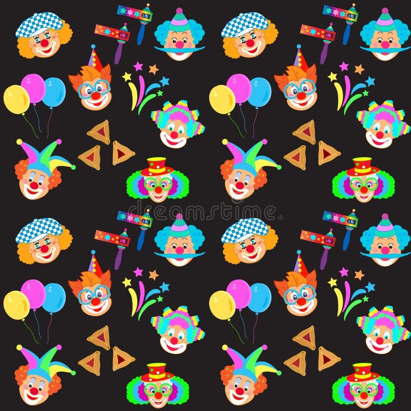 Masque de 2019 caractères de clowns, modèle juif d'icônes de carnaval de vacances de festival heureux de Purim illustration libre de droits