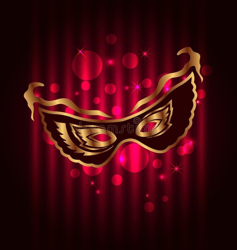 Masque de carnaval ou de théâtre sur le fond rougeoyant illustration de vecteur