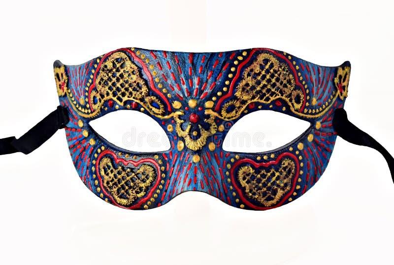 Masque de carnaval vénitien de Motley demi avec le ruban d'isolement sur le fond blanc photographie stock libre de droits