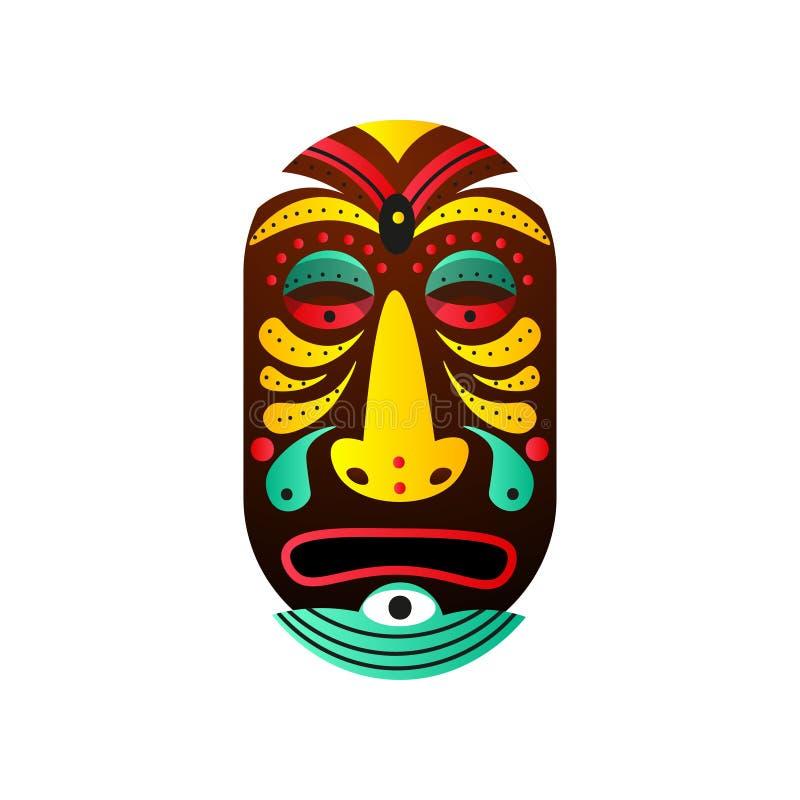 Masque de débroussailleur mignon avec l'élément de baisse et coloré en bois illustration de vecteur