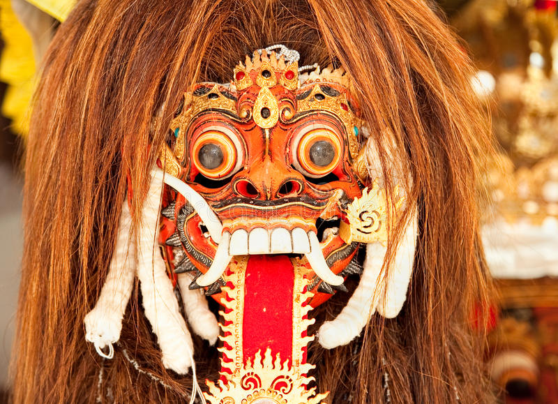 Masque de danse de Barong de lion, Bali, Indonésie photo stock