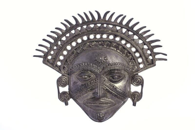 Masque de Dieu de Sun d'Inca en métal images libres de droits