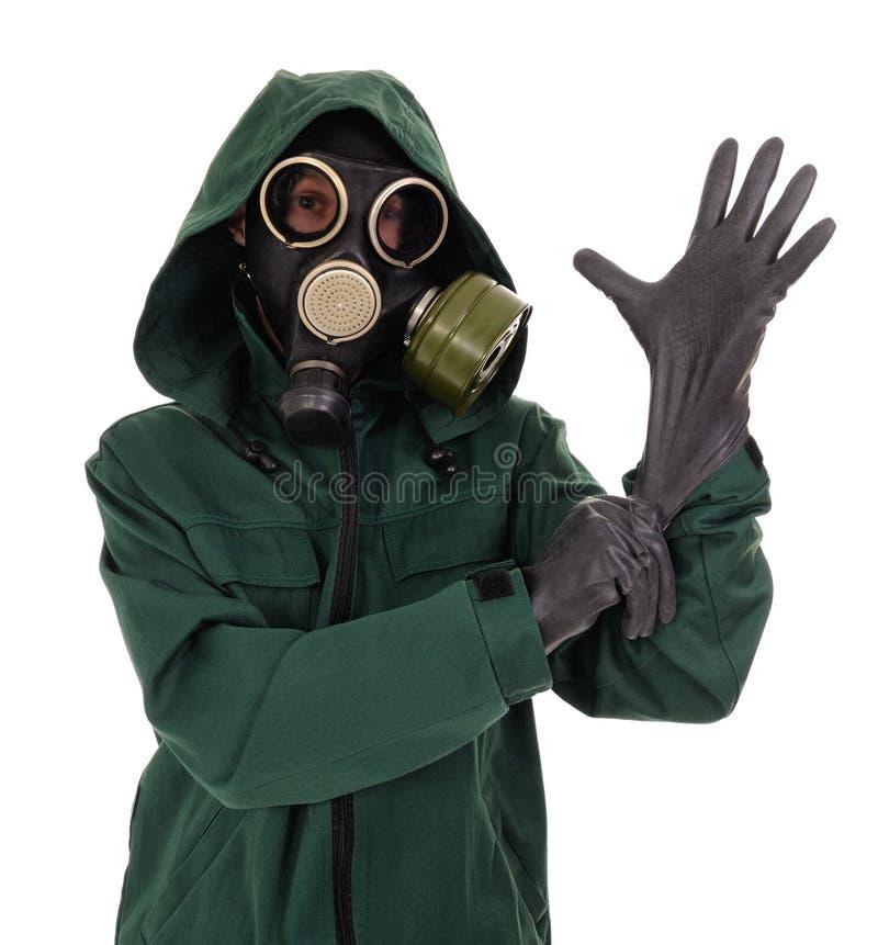 Masque de gaz, gants, la personne photo libre de droits