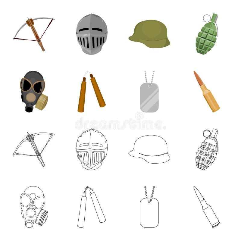 Masque de gaz, nunchak, munitions, marque de soldat Les armes ont placé des icônes de collection dans la bande dessinée, actions  illustration stock