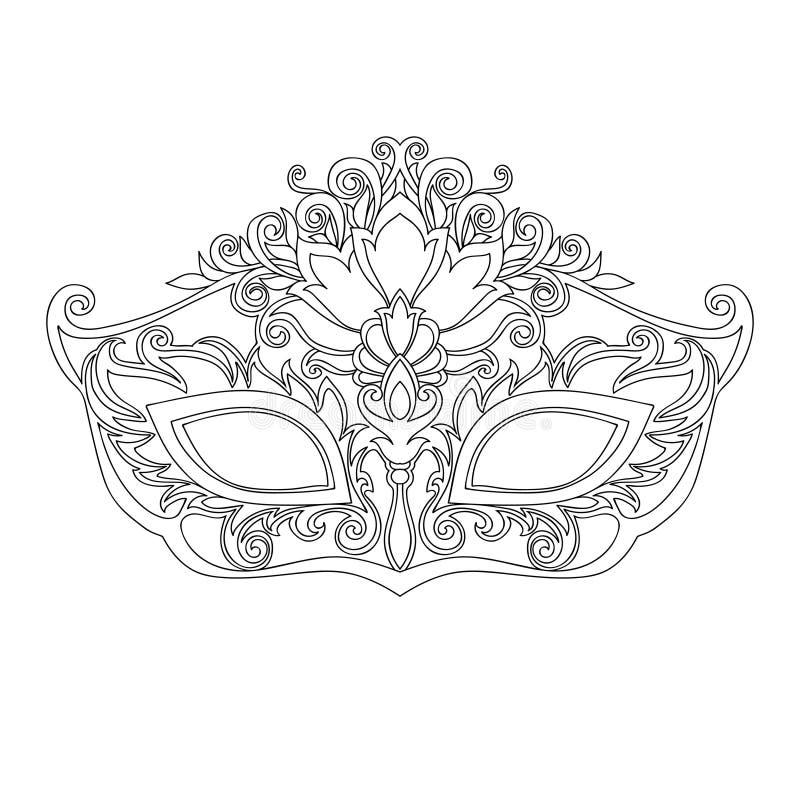 masque de mascarade pour la ligne noire illustration de vecteur