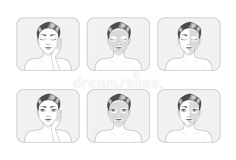 Masque de massage facial de femmes illustration de vecteur