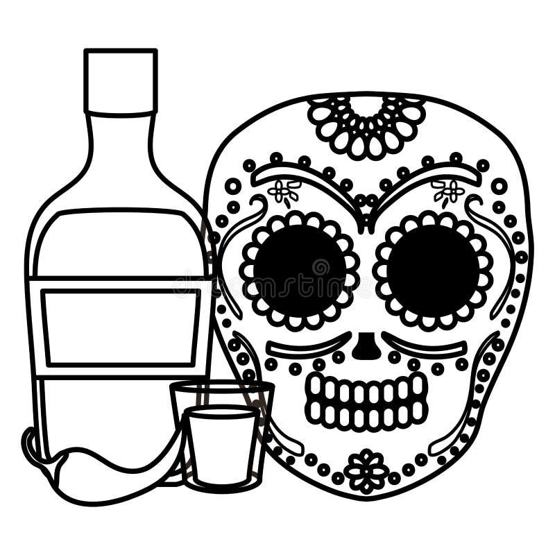 Masque de mort mexicain de cr?ne avec la bouteille de tequila illustration libre de droits