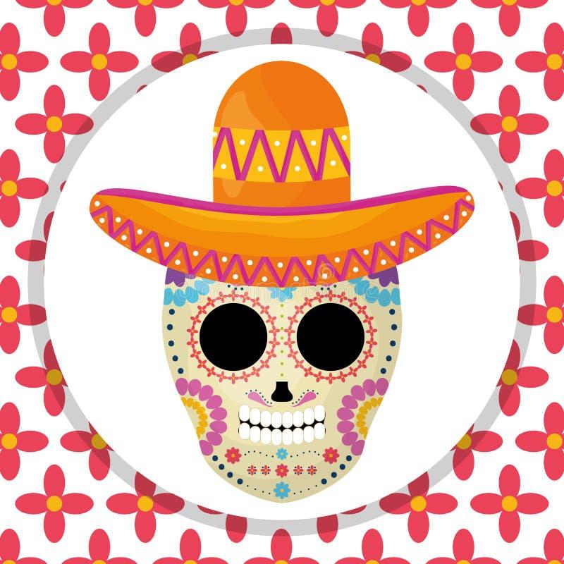 Masque de mort mexicain de cr?ne avec le chapeau de mariachi ? l'arri?re-plan floral illustration libre de droits