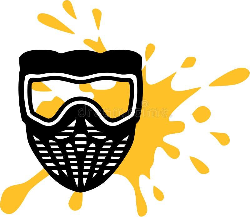 Masque de Paintball avec l'éclaboussure jaune illustration de vecteur