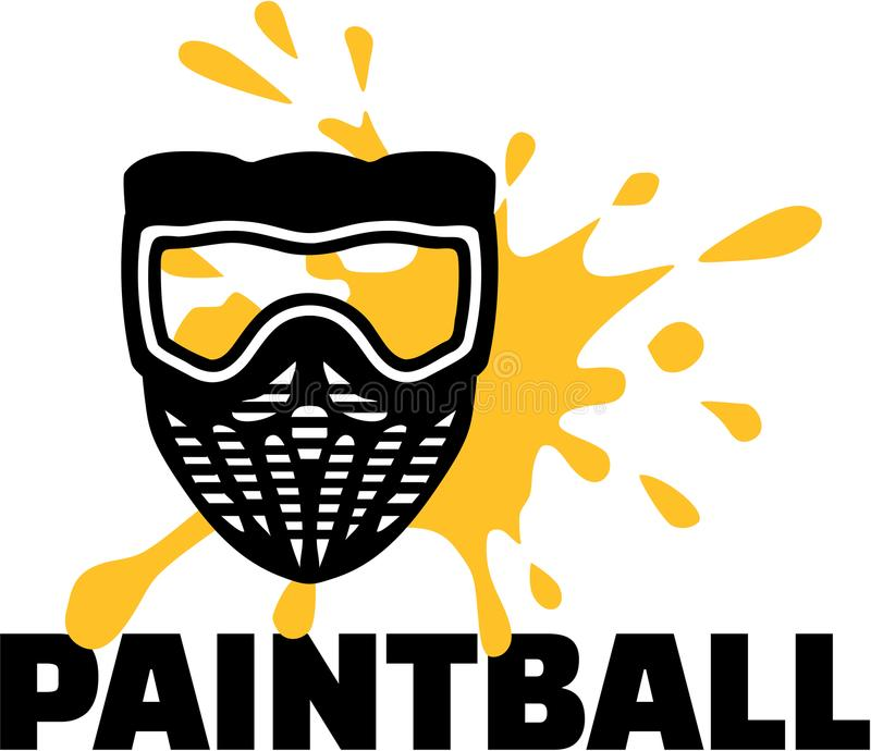 Masque de Paintball avec le paintball et l'éclaboussure de mot illustration libre de droits