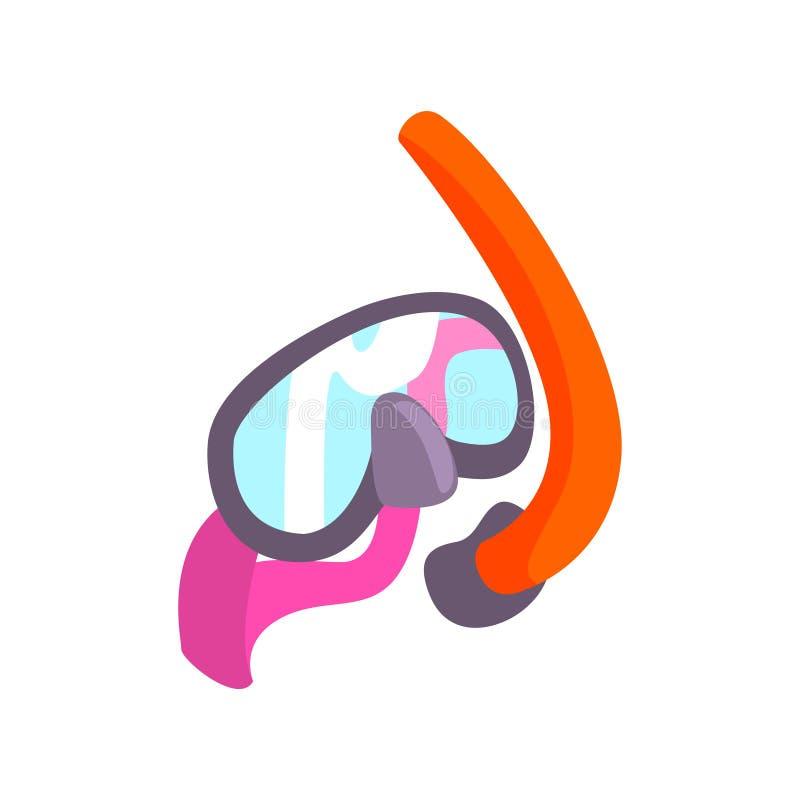 Masque de plongée et tube de respiration pour naviguer au schnorchel illustration stock