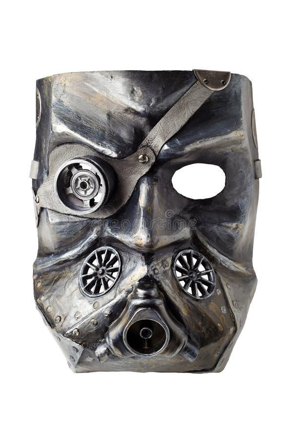 Masque de rôdeur de carnaval au style de Dieselpunk, d'isolement sur le fond blanc photos stock