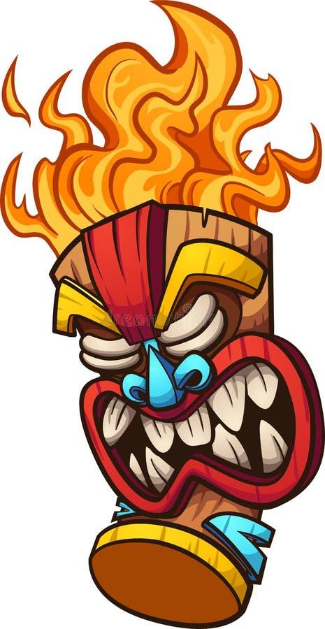 Masque de Tiki avec des cheveux du feu illustration de vecteur