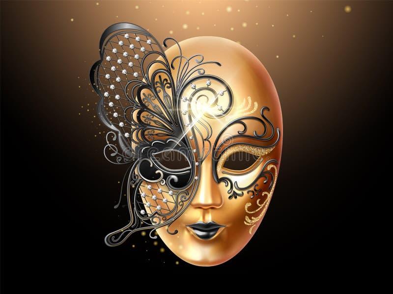 Masque de Volto décoré de la dentelle de papillon illustration libre de droits