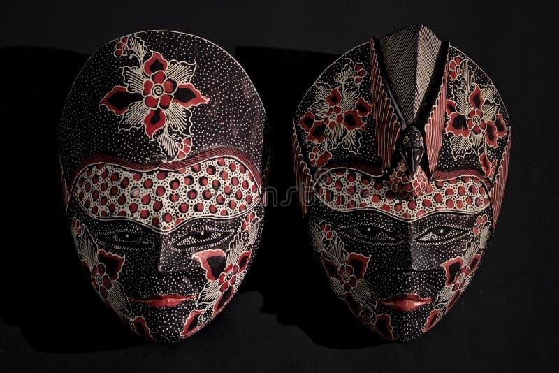 Masque en bois de batik traditionnel de Javanese photos libres de droits