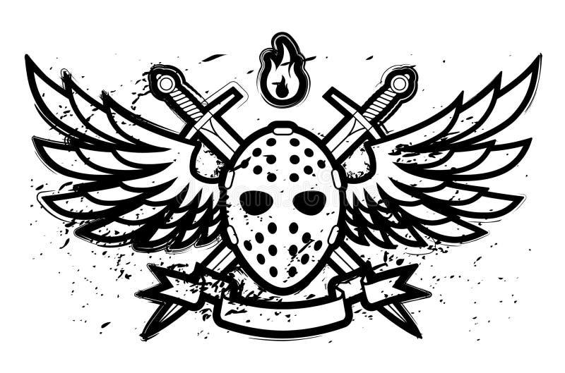Masque et ailes illustration stock