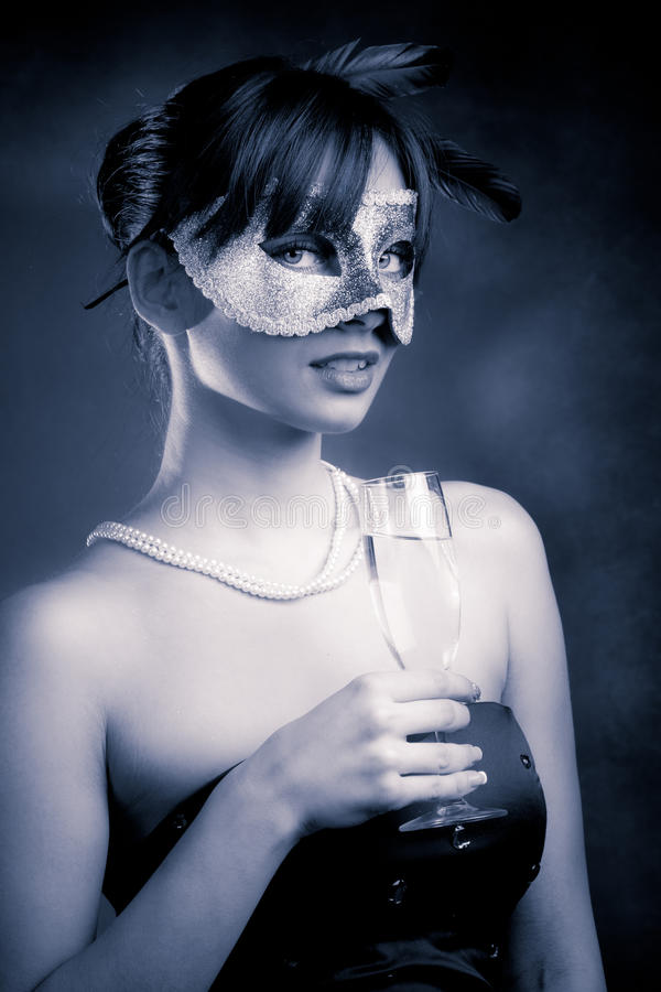 Masque Et Champagne Photos stock