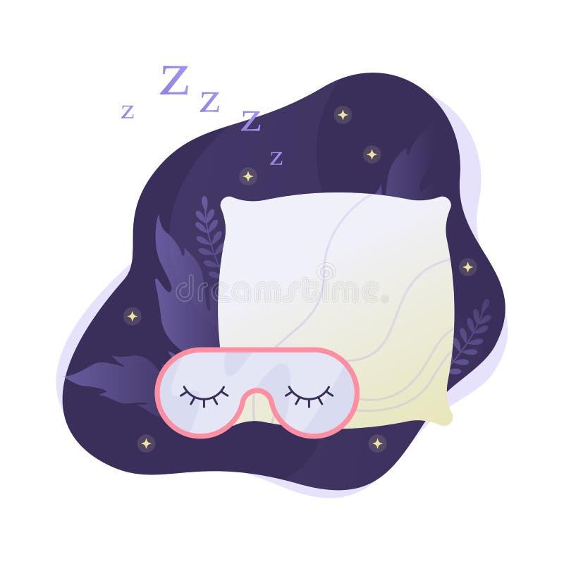 Masque et oreiller de sommeil E illustration de vecteur