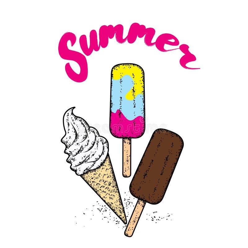 Masque et prise d'air Illustration de vecteur Mer et vacances Un ensemble de belle crème glacée  Remplissages blancs dans un klax illustration de vecteur