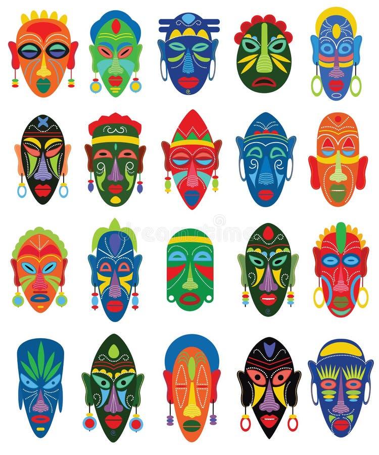 Masque för framsida för stam- maskeringsvektor afrikansk och maskera etnisk kultur i Afrika illustrationuppsättning av maskerat t stock illustrationer