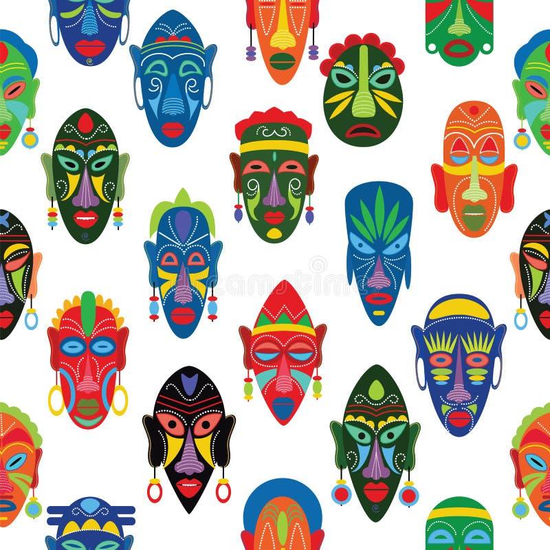 Masque för framsida för stam- maskeringsvektor afrikansk och maskera etnisk kultur i Afrika illustrationuppsättning av maskerat t vektor illustrationer