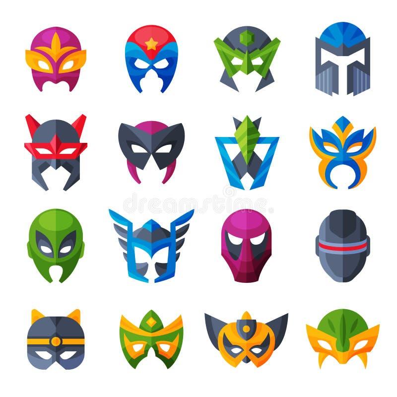 Masque för framsida för superhero för hjältemaskeringsvektor och maskera den isolerade uppsättningen för illustration för tecknad royaltyfri illustrationer