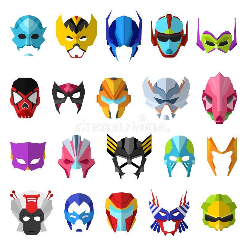 Masque för superhero för hjältemaskeringsvektor och maskera den isolerade uppsättningen för illustration för framsidatecknad film vektor illustrationer