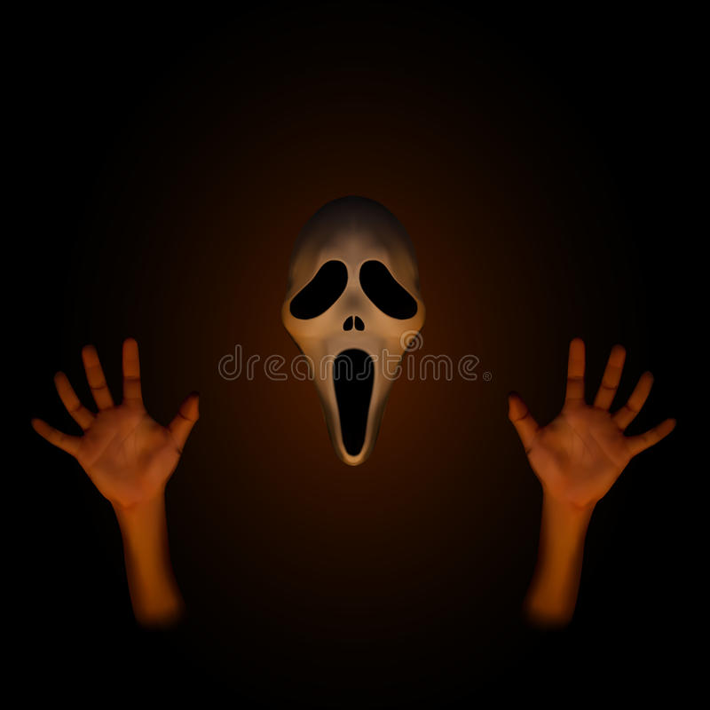 Masque fantasmagorique de Halloween avec la main humaine illustration libre de droits