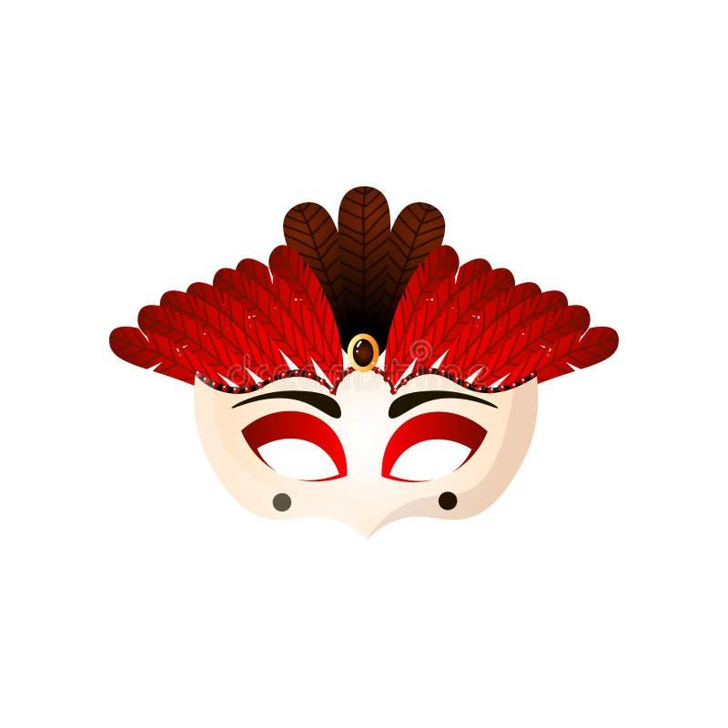 Masque femelle brésilien de carnaval avec les plumes rouges et la pierre de scintillement illustration libre de droits