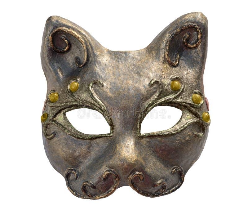 Masque intérieur et carnaval de chat, d'isolement sur le blanc photographie stock libre de droits