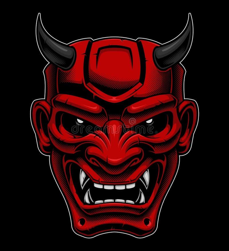 Masque japonais de démon illustration de vecteur