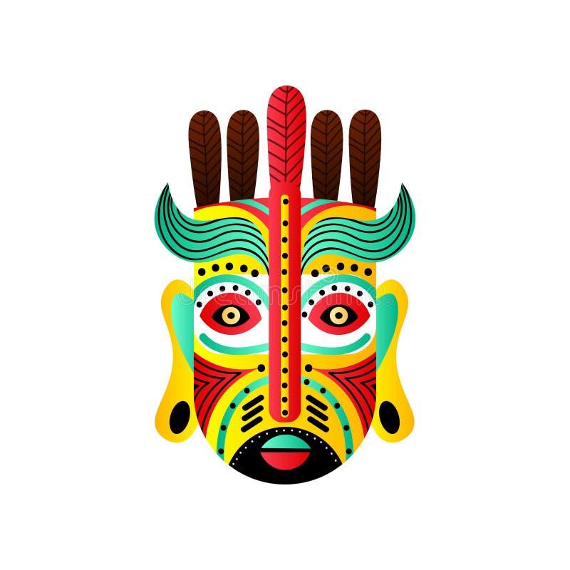 Masque mexicain abstrait avec l'élément de plume rouge et de vague verte illustration libre de droits