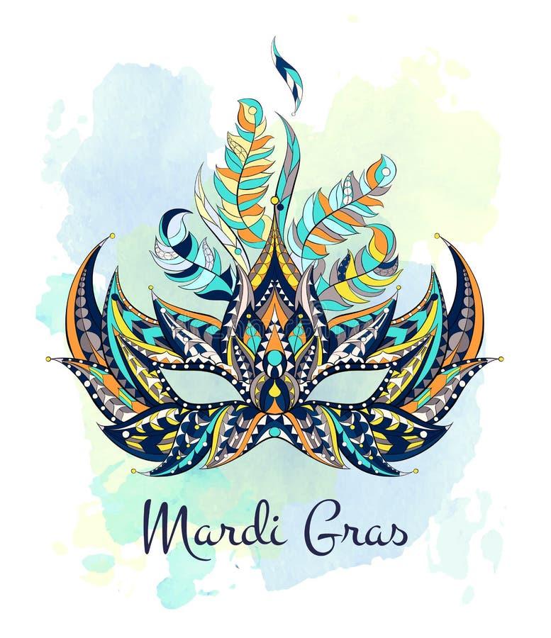 Masque modelé sur le fond grunge Festival de Mardi Gras illustration stock