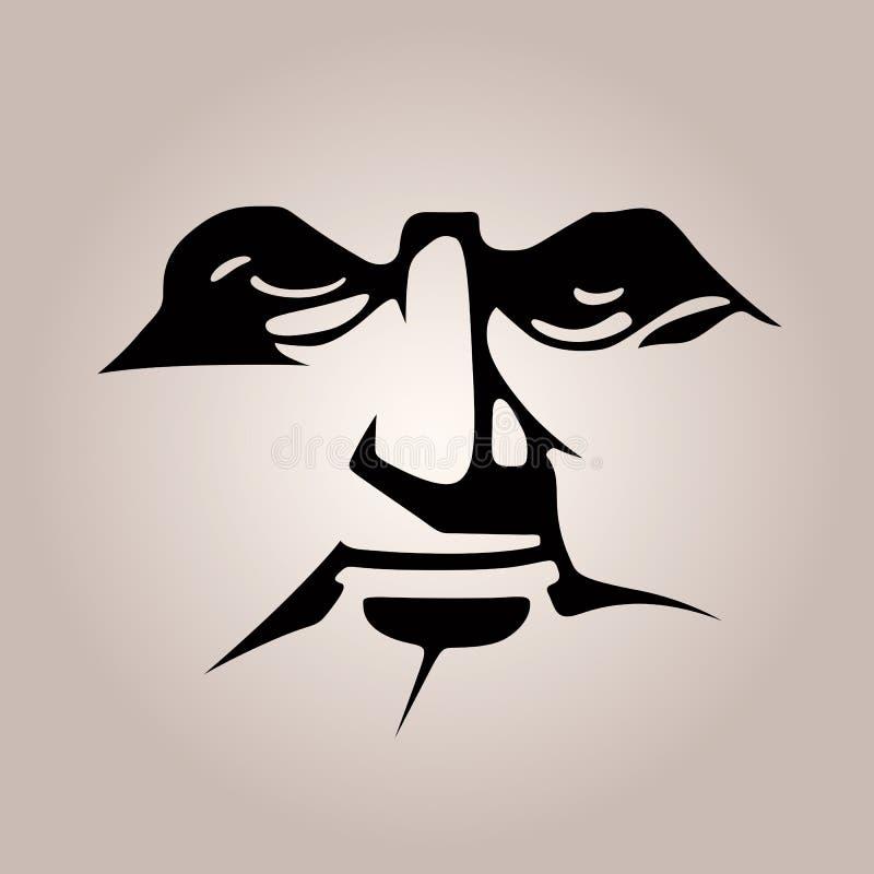 Masque monochromatique de pochoir, caractéristiques de visage noir illustration libre de droits