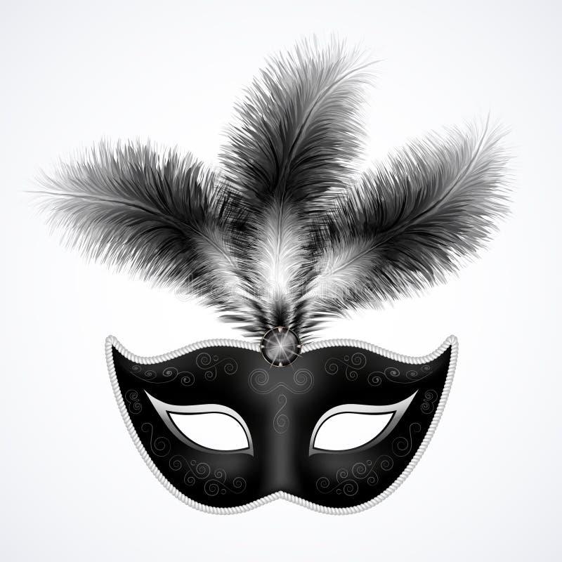 Masque noir de carnaval avec des plumes d'isolement sur le blanc illustration libre de droits