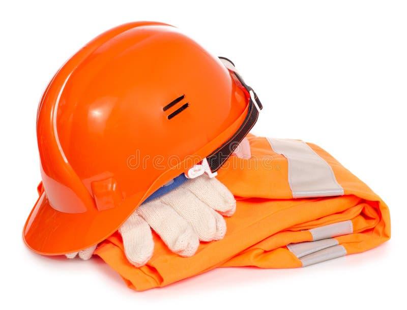 Masque orange fonctionnant de gant de casque de forme images stock